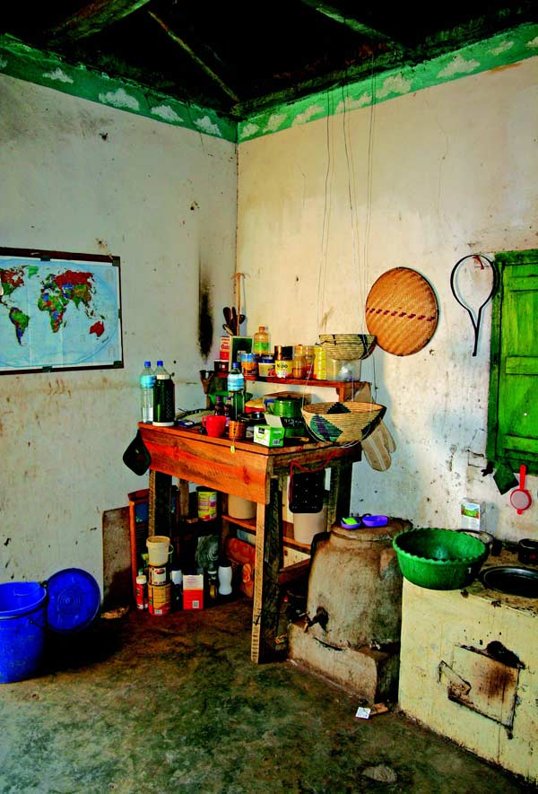 Randy's primitive kitchen at his Peace Corps home in Dawar.