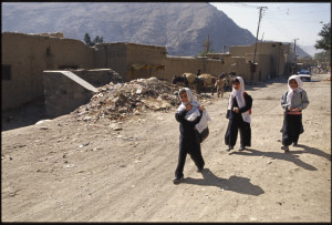A welcome sight- girls returning home from school, Kabul, photo by Judy Duchesne-Peckham