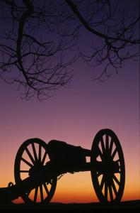 War Memorial Wheeled Cannon Military Civil War Weapon Dusk Sunset