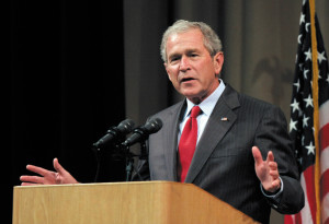 BENTON HARBOR, MI - MAY 28: Former President George W. Bush speaks at the Economic Club of Southwestern Michigan May 28, 2009 in Benton Harbor, Michigan. Bush was to discuss his presidency and life, as well as the economy and world events in his first speech since leaving office. (Photo by Bill Pugliano/Getty Images)
