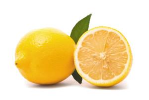Lemon with fresh leaves. Macro shot. Studio white background.