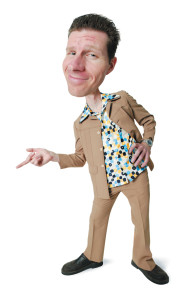 photo caricature of a desperate caucasian man in a polyester suit and retro shirt as he leans over and points