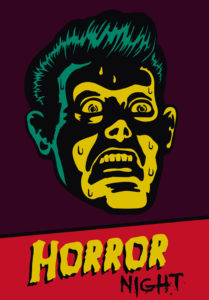 Horror Night! Halloween party or movie night event flyer vector design with terrified vintage man face afraid of something creepy, comic book style portrait with light from below