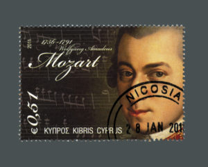Cyprus 2011 stamp printed in Cyprus shows Wolfgang Amadeus Mozart (1756-1791), circa 2011
