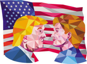 Illustration showing Republican Donald Trump versus Democrat Hillary Clinto face-off for American president with USA flag in background done in low polygon art style.